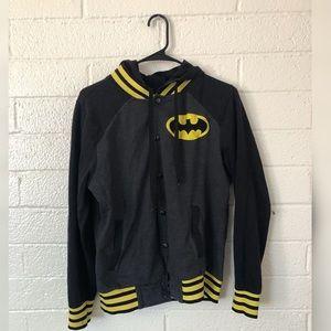 Black Varsity Style Batman Letterman Jacket